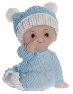Magnifique petit bébé bleu assis de 7,5 cm de hauteur