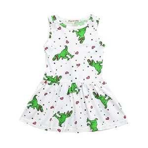 POIUDE Liquidation Toddler Girl Dress Princesse Imprimé Fleurs Dress Robe Manches Longues Robe 12 Mois -5 Ans (Blanc,12 Mois)