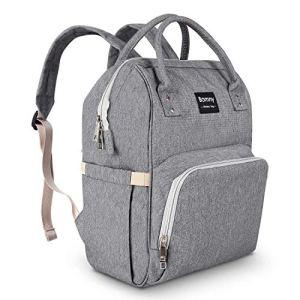 BAMNY Organisateur de sac à langer pour bébé Isolé Sac à dos de voyage imperméable à l'eau Sac de couchage à grande capacité pour femme Sac à dos pour maman (Gris)