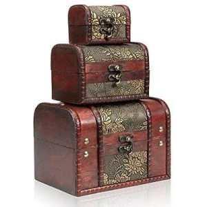 Generic GE Les Cheveux 3PC en Bois Vintage den Vinta de Rangement Bijoux Hest Jewelle Boîte en Bois Y de Stockage Coffre au trésor Ecklace Collier Bracelet E Bracele