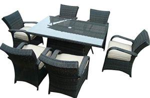 LYQZ Table de Salle à Manger rectangulaire et chaises de Jardin réglées à la Maison de Jardin de rotin de Combinaison (Couleur : D)