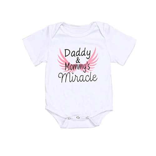 POIUDE Grande Vente Body Manches Courtes,Bambin GarçOn Filles Body Imprimé Lettre T-Shirts 0-18 Mois(Blanc,3-6 Mois)