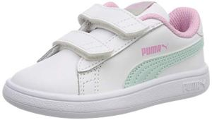 Puma Smash v2 L V Inf, Sneakers Basses Mixte Enfant, Blanc White-Fair Aqua-Pale Pink, 25 EU