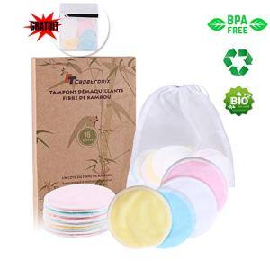 Tampons Démaquillants fibre de bambou丨(16pcs) + 2 Sac de lavage丨Fibre de bambou + velours(Devant et dos) 丨Lavable et réutilisable丨Boîte d'emballage biodégradable