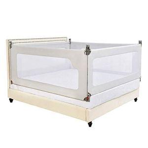 6-WUTOLUOHANS barrière de lit Grise pour bébé Garde-Corps pour lit d'enfant pour barrière incassable (Trois tranches) ((Taille : 180×200cm)