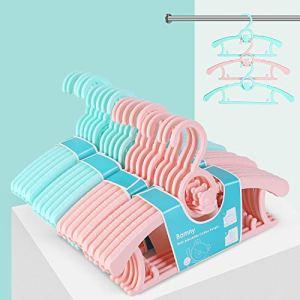 Bamny 20 PCS Cintre Enfant Extensibles, Cintres Bébés Multifonctionnels, Porte-Manteau Enfant avec Crochet d'Ours Mignons, Légers et Solides, Rose + Vert