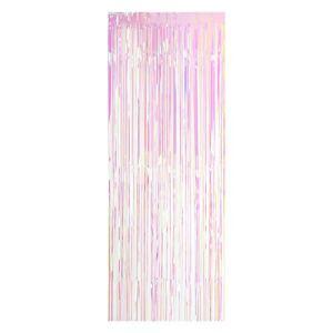 Decdeal 100 * 200cm Métallisé Feuille Frange Rideau Tinsel Shimmer Fenêtre Porte Rideau Mur Toile de Panneau Décoration pour Mariage Fête de Noël
