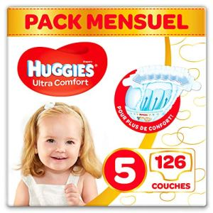 Huggies – Ultra Comfort – Couches Bébé Unisexe – Taille 5 (11-25 kg) x126 Couches – Pack 1 Mois