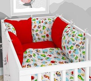 Lot de 3 housses de couette pour bébé 90 x 120 cm avec drap housse et tour de lit – 6 housses en velours pour lit bébé 60 x 120 cm