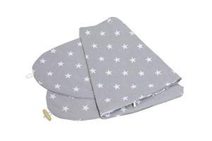 Taie d'Oreiller de Grossesse et Allaitement Niimo, 100% Coton, Amovible et Lavable. Design Gris avec Etoiles| Niimo®
