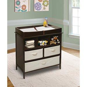 Faultier Kids Commode pour chambre d'enfant avec éléments en tissu Marron/blanc