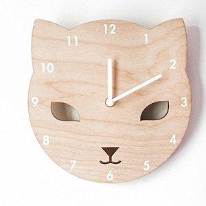 Here&There Horloge Murale Animal Mignonne Bois Pendule Silencieuse (Ø) 20 Décoration Enfant fille garçon chambre (Chat)