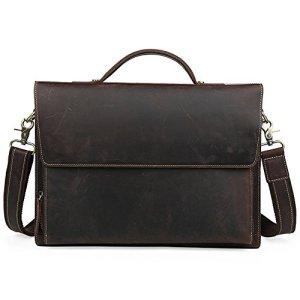 Porte-documents pour hommeshommes Men Retro Leather Business Bag Serviette Unique épaule fourre-tout sac à main pour 13 «portable Notebook Tabllet Sac messager pour bureau de voyages d'affaires