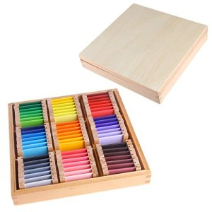 Valcano Montessori Sensorial Boîte de Rangement pour tablettes de Couleur 1/2/3 Jouet d'apprentissage