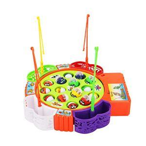 Viewk Cadeau de fête des enfants Enfant Bébé Mignon Magnétique Jouet Intelligence Outil De Pêche Automatique Musique Jouet De Poisson