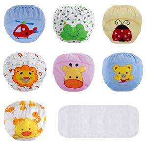 Lictin Culottes d'apprentissage Bébé avec une Couche D'absorption de L'eau, Culotte Bébé Fille/Garçon en 100% Coton pour Les Bébé 1.5 à 2 Ans – Lot de 7(Taille de 90cm)