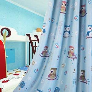 Lot De 2 Rideaux Occultants Enfant Pour Chambre D'enfants Avec Caricature De Hibou, (Bleu 140 x 160cm)