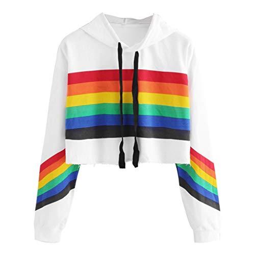 Barbarer Sweat Femme 2019 Automne Hiver Les Sports Arc en Ciel Capuche Pullover Hoodie Tops Manches Longues Sweat-Shirt T-Shirt Warmer Blouse Chemisier Streetwear Pas Cher S-2Xl