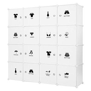 LANGRIA Armoire avec Penderie Modulable 16 Cubes avec Tige a Vêtements, Autocollants Divers pour Décor, Meuble Rangement (Blanc)