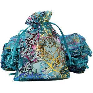 Organisateur de vêtements 100pcs sacs cadeaux en organza, sacs à bijoux sacs coralline bleus cordon, pochette de bonbons de Noël pochette chocolat partie cadeau faveur cadeau, petit 10cm x 15cm