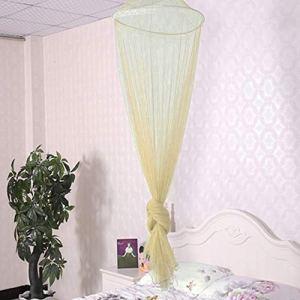 En plein air été ronde dentelle lit insecte Canopy Filet Rideau Polyester Tissu À La Maison Textile À La Maison Élégant Dôme Suspendu Moustiquaire beige jaune