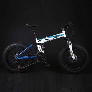 LIUJIE 26″ Alliage Pliant Mountain Bike 27 Vitesse Double Suspension 4,0 Pouces Fat Tire vélo Peut Cyclisme sur Neige, Montagnes, Routes, plages, etc,3,Bleu