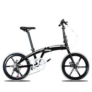 LIUJIE Battantes pour Alliage de 20 Pouces Ultra-léger VTT Suspension de Bicyclette en Aluminium Portable, Titane, 6Spoke WheelsSuspension vélo pour Hommes et Femmes vélo,Noir