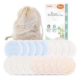 Coton démaquillant lavable Lingette demaquillante lavable réutilisable Biologique 18 pcs + 1 Sac à linge | Tampon Velours (devant) & Fibre du bambou (dos) Super doux Double épaisseur