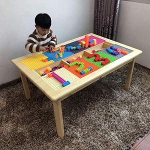 Ensemble de blocs de construction en bois de qualité supérieure, table de jeu et plateau pour briques Table de jeu d'activité avec rangement, couvercle amovible, coloris bois (blocs non inclus),Wooden