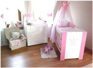 Klups Babykrone Chambre pour bébé incluant lit pour bébé, commode avec table à langer, sommier à lattes, matelas et parure de lit Rose 12 pièces