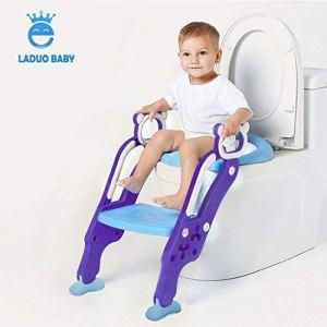 Laduo Reducteur de Toilette enfants avec échelle Marches Pliable,Siège de Toilette Pour Garçon et Filles Bébés réglable,antidérapant Siège de Toilette pour tout petit