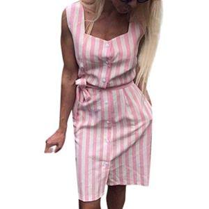 Viewk Fashion Beach Daily Vacation Party Women Imprimé sans Manches rayé Slim Casual avec Robe de Boutons