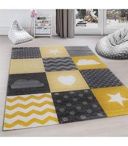 Carpettex Teppich Tapis pour Chambre d'enfants à Carreaux Nuage Etoiles Gris Jaune Blanc – 80×150 cm