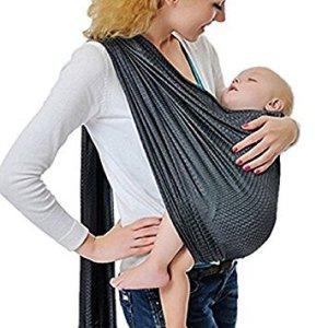 Écharpe de portage avec anneau d'ajustement – Porte-bébé ventral ou dorsal de marque CUBY – Réglable – Matériau respirant – Couleur Gris