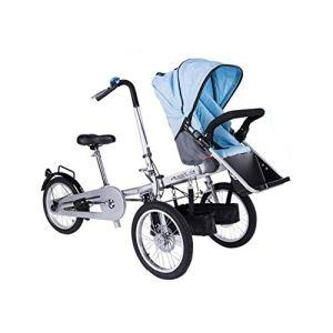 HYRL Poussette de bébé de vélo électrique Pliable 2 dans 1, Bicyclette de Poussette de bébé pliée de 3 Roues,Bleu