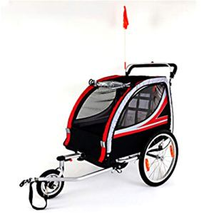 Susulv-baby Double siège Pliable Beton Remorques de vélo, Poussette Jogger for Convertis, avec 2-en-1 Canopy et Roues de 20 Pouces, for Les Enfants et Les Enfants Se convertit en Poussette/Jogger