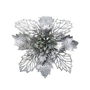 5 pièces Ornement en sapin de Noël, Glitter Fleurs artificielles Fleurs de noel pour la fête de mariage Décorations de Noël Fleur de décoration de noël Fleur de simulation de Noël