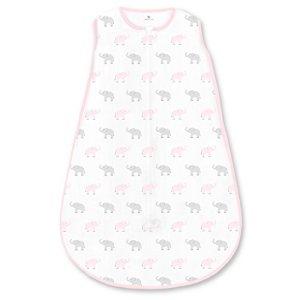 Amazing Baby by SwaddleDesigns, Gigoteuse en Coton avec Fermeture Éclair à Double Sens, Petits Éléphants, Rose Pastel, Grand, 12-18 Mois