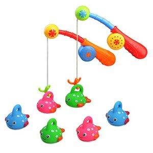 Fajiabao Jeux Peche Jouet Bain Enfant Jeux de Bain Jeu de Pêche a La Ligne Baignoire Enfant Bebe Noel Fille Garcon avec 6 Coloré Tacheté Poissons 2 Canne a Peche (Couleur Varier)