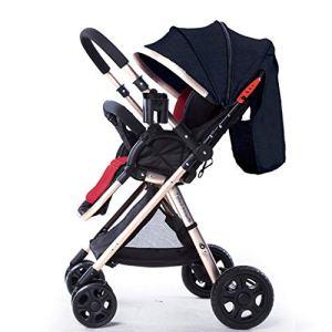 HHGO Poussette bébé Pliable 2 en 1, poussettes 4 Roues Haute visibilité pour Nouveau-né et Tout-Petit, Hauteur du Guidon réglable, Roue Universelle 360 ° (Color : Black)