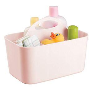 mDesign boîte de rangement pour la chambre d'enfant avec 4 sections en plastique – système de rangement pour aliments de bébé – corbeille de rangement avec poignée intégrée – rose