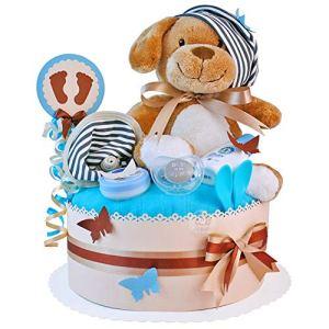MomsStory – Gâteau à couches pour bébé – Cadeau de naissance, baptême, baby shower – 1 bâtonnet (beige-Braun) avec peluche, tétine et plus