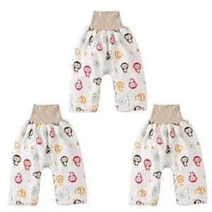 Pantalons d'apprentissage pour bébé Jupe-culotte en tissu en coton, pantalons lavables pour garçons, Pantalon d'entraînement pour bébé, ventre changeant, couches, 0-5 ans, Lot de 3, L