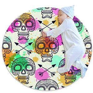 ASDFSD Tapis de jeu pour bébé Motif tête de mort – Tapis de bébé pour garçons et filles – Décoration de chambre d'enfant pour tapis de jeu 39,4 x 39,4 cm