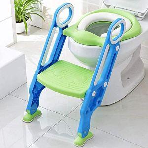 AFF Siège de Toilette Pot Pliable Trainer de Toilette réglable pour bébé avec marchepied et échelle Anti-éclaboussures pour garçon et Fille
