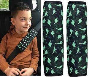 2x HECKBO Dino Protecteur de ceinture de sécurité pour ceinture de sécurité Coussin d'épaule Coussin d'épaule Sièges d'auto Coussin de ceinture de sécurité pour enfants et garçons avec dinosaures