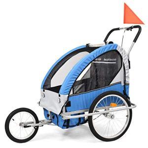Festnight Remorque à Vélo et Poussette pour Enfants 2-en-1 Bleu et Gris