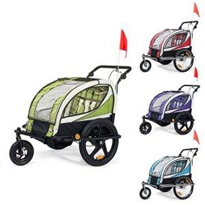SAMAX Remorque Vélo convertible Jogger 2en1 360° rotatif Pour 2 Enfants Amortisseur Transport Poussette en Pourpre – Black Frame