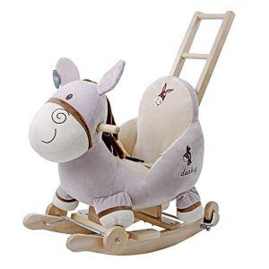 Sikungjlk Cheval à Bascule bébé Peluche Cheval Enfant en Bas âge Jeu Rocker Chaise Jeux de rôles Standing Horse Ride on Cheval Jouet (Gris) pour Les Tout-Petits, Filles et garçons de 1 an et