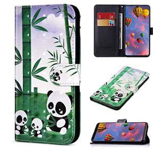 Compatible avec Samsung Galaxy A31 Housse en Cuir Portefeuille Etui Brillant Bling 3D Flip Case Pochette Étui avec Fonction Stand et Fentes de Carte de Crédit,Panda Bambou